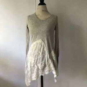 Mystree Knitted Lace Long Sleeve Flow Tunic Grey